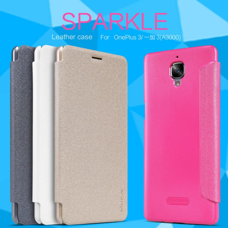 Nillkin Sparkle Series New Leather case for Oneplus 3 / 3T (A3000 A3003 A3005 A3010) order from official NILLKIN store