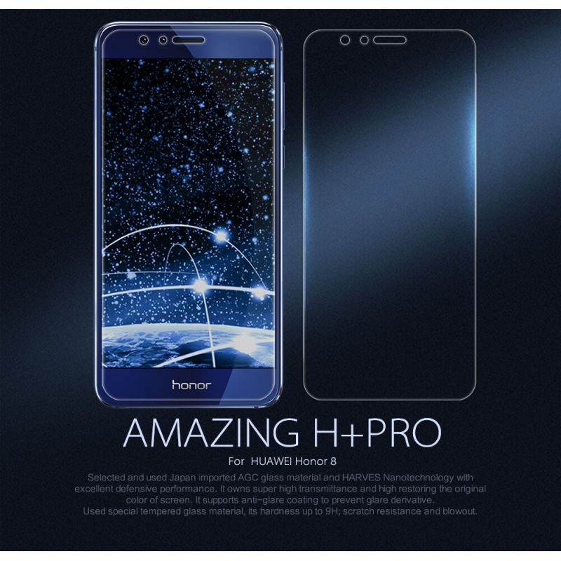 huawei honor 8. nillkin amazing h+ pro tempered glass screen protector for huawei honor 8 frd-l09 frd