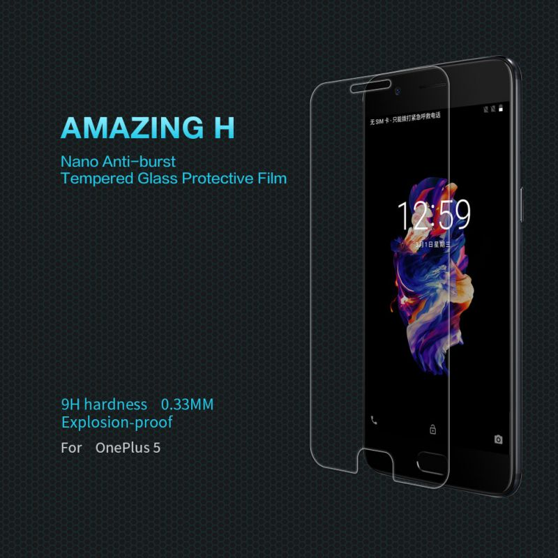 Nillkin Amazing H tempered glass screen protector for Oneplus 5 (A5000 A5003 A5005) order from official NILLKIN store