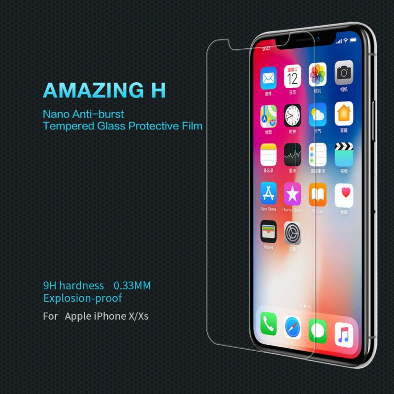 Nillkin Amazing H tempered glass screen protector for Apple iPhone X order from official NILLKIN store