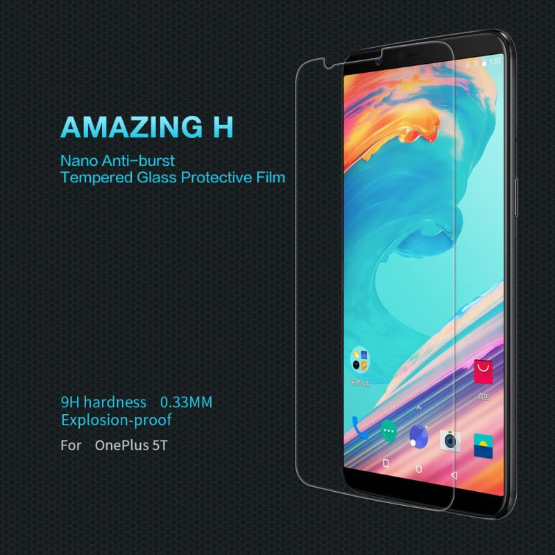 Nillkin Amazing H tempered glass screen protector for Oneplus 5T (A5010) order from official NILLKIN store