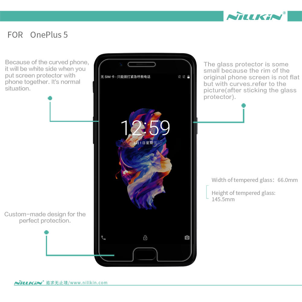 Nillkin Amazing H+ Pro tempered glass screen protector for Oneplus 5 (A5000 A5003 A5005)