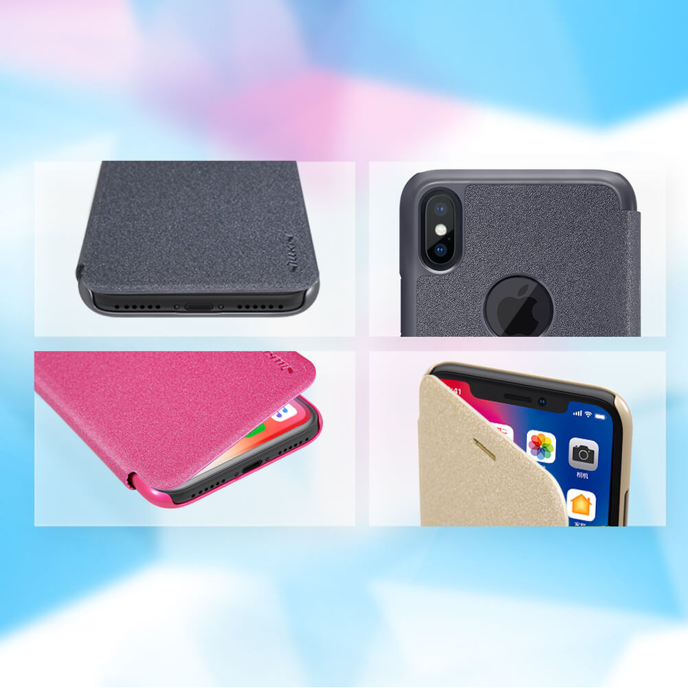 Nillkin Sparkle Series New Leather case for Apple iPhone X (with LOGO cutout)
