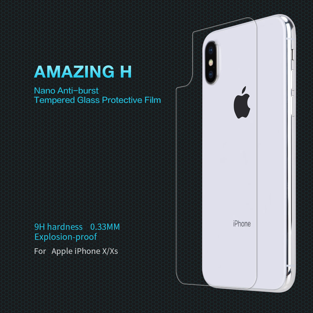 Nillkin Amazing H back cover tempered glass screen protector for Apple iPhone X