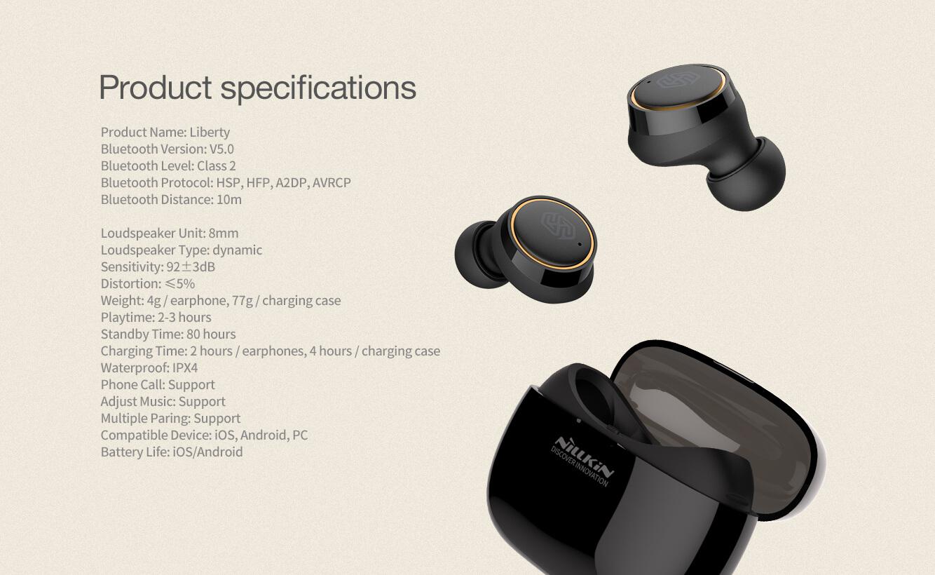 Nillkin Liberty TWS Bluetooth 5 0 IPX4 waterproof wireless earphones